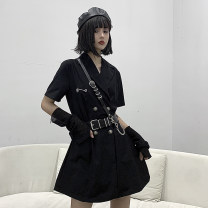 Dress Summer 2020 black S,M,L singleton  Short sleeve routine 51% (inclusive) - 70% (inclusive) other