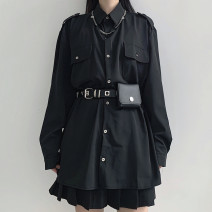 shirt Black shirt (with waistband and belt), waistband and bag, no shirt (one size only) M, L Autumn 2020 other 51% (inclusive) - 70% (inclusive) Long sleeves Versatile Regular stand collar routine