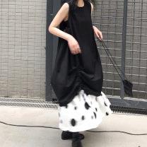 Dress Autumn of 2019 Vest skirt, skirt, white polka dot Average size