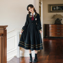 Dress Spring 2021 Regular shirt with tie, plush thickened shirt with tie, black JK dress, regular shirt + tie + Black JK dress, plush thickened shirt + tie + Black JK dress S,M,L,XL Mid length dress Long sleeves commute Admiral High waist Solid color Socket Pleated skirt shirt sleeve 18-24 years old