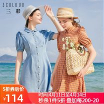 Dress Summer 2020 Blue, red and blue 170/92A/XL,160/84A/M,165/88A/L,175/96A/XXL,155/80A/S Short skirt singleton  Short sleeve commute other middle-waisted lattice Single breasted A-line skirt puff sleeve Others 25-29 years old Type X Tricolor lady Button D023981L20 More than 95% cotton
