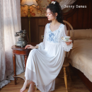Nightdress Jenny Damas white M,L,XL luxurious Long sleeves Leisure home longuette spring Plants and flowers youth V-neck cotton Embroidery More than 95% Modal fabric