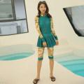 Split swimsuit Tianhai Shijian Green Decor M,L,XL,XXL,XXXL Skirt split swimsuit With chest pad without steel support Nylon, spandex, polyester female Crew neck