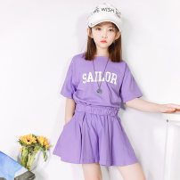 suit Kapok Kor Purple, light gray, yellow 110cm,120cm,130cm,140cm,150cm,160cm female summer Korean version Short sleeve + pants 2 pieces routine There are models in the real shooting Socket nothing letter cotton children Travel T21031803 Class B Cotton 95% other 5% Chinese Mainland