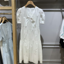 Dress Summer 2021 White, blue 155/80A,160/84A,165/88A,170/92A Mid length dress singleton  Short sleeve Sweet Crew neck High waist Solid color zipper A-line skirt other Others 25-29 years old Type A Lace EEOWB25W7M More than 95% other cotton