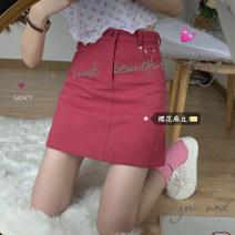 skirt Summer 2020 S,M,L Black skirt 8103, red skirt 8103 Short skirt High waist A-line skirt Solid color 18-24 years old Denim