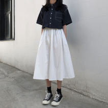 skirt Summer of 2019 Average size Off white, black Middle-skirt Versatile A-line skirt Solid color 18-24 years old Other / other