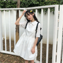 Dress Summer 2021 white Average size Mid length dress singleton  Short sleeve Sweet Polo collar Elastic waist Solid color Single breasted other Others 18-24 years old Other / other solar system