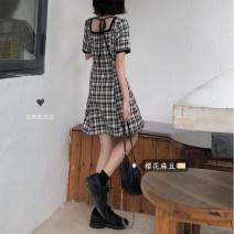 Dress Summer 2020 Picture color M, L Short skirt singleton  Short sleeve commute square neck lattice Single breasted Type A Korean version cotton
