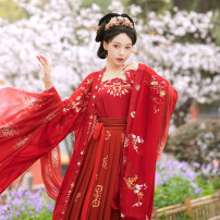 Hanfu 81% (inclusive) - 90% (inclusive) Spring 2021 One batch of four piece set will be issued on 5.20, and two batches of four piece set will be issued on 5.30. The four piece set includes sling + big sleeve shirt + waist length skirt + Silk drape S,M,L polyester fiber