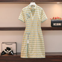 Women's large Summer 2021 Picture color Large L, large XL, large XXL, large XXL, large XXXL Dress singleton  commute easy moderate Socket Short sleeve lattice Retro other Medium length other Three dimensional cutting puff sleeve backless 71% (inclusive) - 80% (inclusive) longuette other