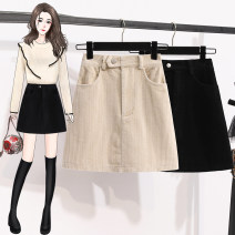 Women's large Spring 2021 Apricot, black Large L, large XL, s, m, 2XL, 3XL, 4XL, 5XL skirt commute Straight cylinder thick Solid color Korean version Three dimensional cutting pocket Short skirt