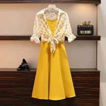 Women's large Summer 2021 Picture color suit Large XL, large XXL, large XXL, large XXXXL, large L Dress Two piece set commute easy thin Solid color Korean version Three dimensional cutting