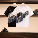 Women's large Summer 2021 White T-shirt, black T-shirt, polka dot skirt, blue trouser skirt, Black Trouser skirt, blue hole M [recommended 85-100 Jin], l [100-120 Jin], XL [120-140 Jin], 2XL [140-160 Jin recommended], 3XL [160-180 Jin recommended], 4XL [180-200 Jin recommended] T-shirt singleton