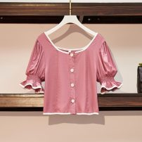 Women's large Summer 2021 Picture color Large L, large XL, large 2XL, large 3XL, large 4XL shirt singleton  commute Self cultivation Cardigan Short sleeve Solid color Retro routine polyester Three dimensional cutting
