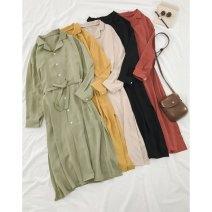 Dress Spring 2020 Black, lemon yellow, bean paste red, milk tea apricot, bean green Average size longuette singleton  Long sleeves commute Polo collar High waist Solid color Single breasted A-line skirt routine 18-24 years old Type A Other / other Korean version Button four point two zero