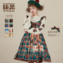 Dress Winter of 2018 Christmas green, British blue, Cocoa Brown, cream blue (check yellow), cream yellow (sold out), pumpkin yellow (sold out), Christmas red (sold out), mint chocolate (sold out) S,M,L Baciobouquet / Corylus cocoa bouquet