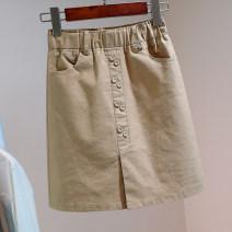 skirt Summer 2021 S,M,L,XL White, black, khaki Short skirt commute High waist skirt Solid color Type A More than 95% Denim Ocnltiy Pockets, buttons, stitching Korean version