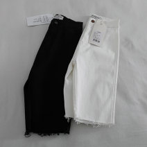 Jeans Summer 2021 white S,M,L,XL shorts High waist Straight pants routine washing Ocnltiy 96% and above