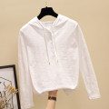T-shirt White, black, pink S,M,L,XL,2XL,3XL Spring 2021 Long sleeves Hood easy Regular routine commute cotton 96% and above Korean version youth Solid color Ocnltiy Button
