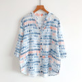 shirt Water drop M, L Summer 2021 cotton 96% and above three quarter sleeve commute Regular V-neck Single row multi button routine Ocnltiy Korean version printing