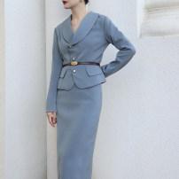 Fashion suit Autumn 2020 XS,S,M,L,XL Haze blue top, raspberry red top, black top, haze blue skirt, raspberry red skirt, black skirt, haze blue suit, raspberry red suit, black suit 18-25 years old A1