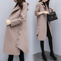 woolen coat Autumn 2020 2XL,3XL,XL,M,L,S Red, black, camel other 91% (including) - 95% (excluding) Medium length Long sleeves commute Buckle routine tailored collar Solid color Cape type Korean version Baiyi Valley rivet