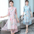 Dress Spring 2021 Blue, pink M,L,XL,2XL,3XL Mid length dress Fake two pieces elbow sleeve commute stand collar High waist Big flower zipper A-line skirt routine Type A ethnic style Tassels, hollowing, embroidery, Gouhua, hollowing, splicing, three-dimensional decoration, gauze, zipper, lace, printing