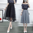 skirt Summer 2020 XL,L,M Black, white, grey Middle-skirt commute other Solid color 18-24 years old Lace Chaoyi powder pack other Lotus leaf edge
