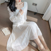 Dress Spring 2021 white S,M,L,XL Long sleeves Sweet square neck High waist zipper Big swing pagoda sleeve 25-29 years old Lace Countryside