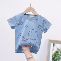T-shirt Sky blue, white, light green Other / other The recommended height is 80-90cm for 100, 90-100cm for 110, 100-110cm for 120, 110-120cm for 130, 120-130cm for 140, 130-140cm for 150 and 140-150cm for 160 currency No season Short sleeve Crew neck Korean version No model nothing other Solid color