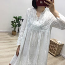 Dress Spring of 2019 White, brown, black Single code Middle-skirt singleton  Nine point sleeve Sweet V-neck Loose waist Solid color Socket A-line skirt routine Type A Hollow out, embroidery 71% (inclusive) - 80% (inclusive) other cotton solar system