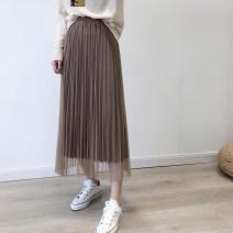 skirt Spring 2020 Single code Grey, black, Beixing, light brown Mid length dress Sweet High waist A-line skirt Type A solar system