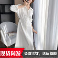 Dress Spring 2021 Black, white S,XL,L,M Mid length dress singleton  Long sleeves commute Polo collar middle-waisted Solid color Single breasted A-line skirt routine Others 25-29 years old One for one Splicing, three-dimensional decoration 71% (inclusive) - 80% (inclusive) other polyester fiber