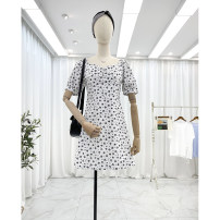 Dress Summer 2021 White background, black background Average size Short skirt singleton  Short sleeve commute other High waist Decor zipper A-line skirt routine Others 25-29 years old Type A Other / other Korean version Button 30% and below other polyester fiber