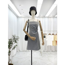 Dress Spring 2021 Black, grey Average size Short skirt singleton  Sleeveless commute square neck High waist Solid color Socket A-line skirt other camisole 25-29 years old Type A Other / other Korean version 81% (inclusive) - 90% (inclusive) other cotton