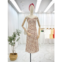 Dress Spring 2021 Average size Mid length dress singleton  Sleeveless commute V-neck High waist other Socket A-line skirt other camisole 25-29 years old Type A Other / other Korean version fold 30% and below other polyester fiber