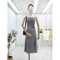 Dress Spring 2021 Black, grey Average size Mid length dress singleton  Sleeveless commute square neck High waist Solid color Socket A-line skirt other camisole 25-29 years old Type A Other / other Korean version fold 30% and below other cotton