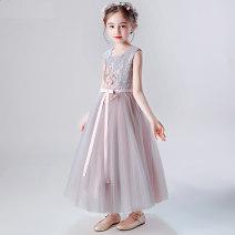 Dress Grey Pink Long [send pearl hairband], Grey Pink Short [send pearl hairband], pink short [send pearl hairband], blue short [send pearl hairband] female Dinielephant / dinielephant 110cm,120cm,130cm,140cm,150cm,160cm Polyester 100% summer princess Skirt / vest other other Cake skirt Class B
