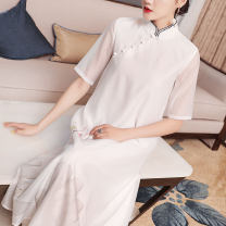 Dress Summer 2020 white S,M,L,XL Mid length dress singleton  three quarter sleeve commute stand collar Loose waist Hand painted zipper Big swing Others 25-29 years old Type A Qing shuzhai Retro Embroidery 51% (inclusive) - 70% (inclusive) organza  polyester fiber