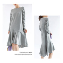 Dress Spring 2021 Gray, black M, L Mid length dress singleton  Long sleeves commute Crew neck Solid color Socket Ruffle Skirt routine Other / other 91% (inclusive) - 95% (inclusive) other cotton