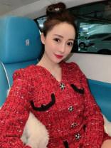 Dress Winter 2020 gules S,M,L,XL Short skirt Long sleeves V-neck High waist A-line skirt Type A ZMH2-111228 31% (inclusive) - 50% (inclusive) other