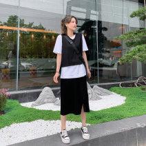 Fashion suit Summer 2020 M,L,XL black 25-35 years old Small four original Q2348 vest T-shirt skirt three piece set 51% (inclusive) - 70% (inclusive) cotton