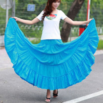skirt Spring 2020 Average length 84, average length 92 Black, white, rose red, purple, fluorescent green, peacock blue, red, grass green, lake blue, cowboy blue, spring, summer, autumn and winter, taro purple longuette commute High waist A-line skirt Solid color Type A 18-24 years old More than 95%