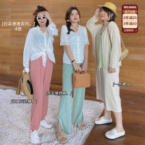 Women's large Summer 2021 Large L, large XL, large XXL, large XXL, large XXXL trousers singleton  commute easy thin Solid color Korean version Polyester, others 4.12 cloud series 91% (inclusive) - 95% (inclusive) Medium length other trousers