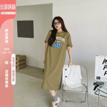 Women's large Summer 2021 Army green Large XL, large XXL, large XXL, large XXXXL, large XXXXL Dress singleton  commute easy moderate Socket Short sleeve letter Korean version Crew neck Medium length Polyester, cotton routine 3.24mu drop shoulder green dress 51% (inclusive) - 70% (inclusive)