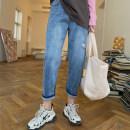 Women's large Spring 2021 Light blue 30,32,34,36,38,40 Jeans singleton  commute easy moderate Solid color Korean version 2.241118 elastic waist hole pants hole trousers