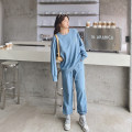 Women's large Spring 2021 Black sweater, black pants, gray sweater, gray pants, blue sweater, blue pants Large L, large XL, large XXL, large XXL, large XXXL Sweater / sweater Two piece set commute easy moderate Socket Long sleeves letter Korean version Crew neck routine routine pocket trousers