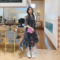 Women's large Summer 2021 Grey system Large L, large XL, large XXL, large XXL, large XXXL Dress singleton  commute easy thin Socket Sleeveless Broken flowers Korean version other 4.12 pink patchwork skirt Middle-skirt other