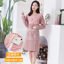 apron Pink, reddish brown, greyish green, pink sleeveless, red sleeveless, greyish green sleeveless Sleeve apron waterproof Japanese  pure cotton Household cleaning Average size JC006 public no like a breath of fresh air